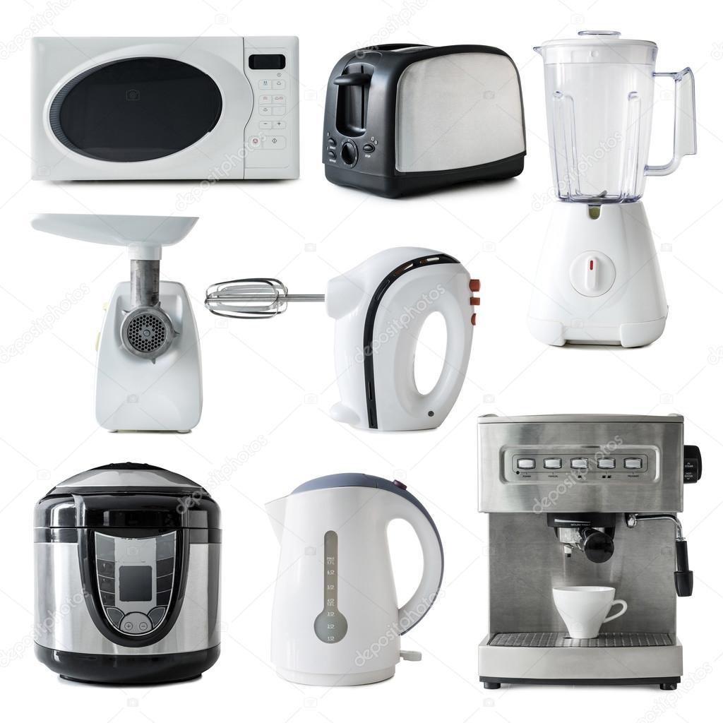 collage di diversi tipi di elettrodomestici da cucina isolati su priorit bassa bianca foto di tan4ikk