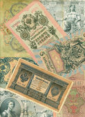 Heap of vintage russian ruble banknotes — Stock Photo