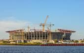 Construction of football stadium — 图库照片