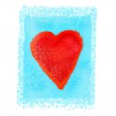 Bright red heart on blue background — Stock Photo