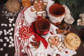 Cups on holiday decorations — Stock Photo