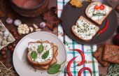 Sandwich with soft cheese — Stock Photo