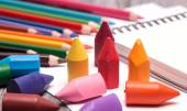 Colorful crayons and pencils — Stock Photo