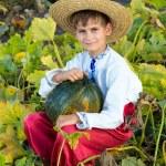 Boy holding pumpkin — Stock Photo #56228769