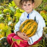 Boy holding pumpkin — Stock Photo #56228821