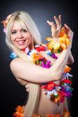 Girl in hawai costume — Stock Photo