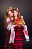 Women in ukrainian clothes — Stock Photo
