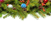 Christmas border with decorations — Stock Photo