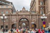 Arch of parliament and Drottninggatan street — Stock Photo