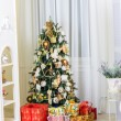 Christmas tree in modern interior living room — Stock Photo #59283701