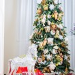 Christmas tree in modern interior living room — Stock Photo #59283719