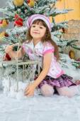 Happy small girl  have a christmas — Stock Photo