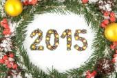 Christmas card with a christmas ornamen. 2015 — Stock Photo