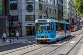 Современный городской трамвай — Стоковое фото