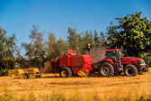 Agriculture landscaped with a tractor — Stock Photo