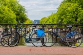 Bicycles on a bridge over canal — Foto Stock