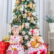 Girls with christmas presents — Stock Photo #59884257