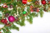 новогодний фон с шары и украшения — Стоковое фото