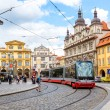 Prague red Tram detail, Czech Republic — Stock Photo #60048315