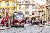 Prague red Tram detail, Czech Republic — ストック写真