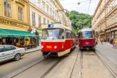 Prague red Tram detail, Czech Republic — Foto Stock