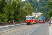 Prague red Tram detail, Czech Republic — 图库照片