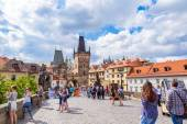 Karlov or charles bridge in Prague in summer — Stock Photo