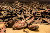 Boots of victims in Auschwitz — Stock Photo