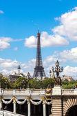 Eiffel Tower and bridge Alexandre III — Stock Photo
