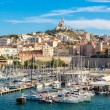 Cathedral and old port in Marseille — Stock Photo #68423565