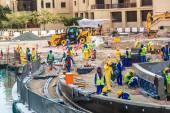 Pracowników budowlanych w Dubaju — Zdjęcie stockowe