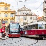 Prague red Trams, Czech Republic — Stock Photo #69445425