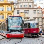 Two Trams in Prague, Czech Republic — Stock Photo #69870079