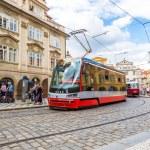 Two Trams in Prague, Czech Republic — Stock Photo #69870083