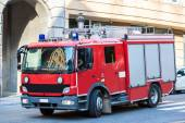 Red fire truck in Brussel — Stock Photo