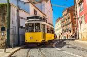 Vintage tram in Lisbon — Stock Photo