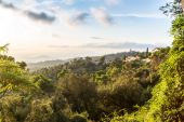 Panoramic view of Barcelona at sunrise — Stock Photo
