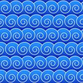 Seamlessly blue waves background pattern. — Stock Vector