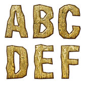 Unique woody letters set isolated on white. — Stock Photo