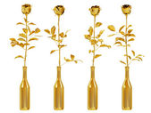 Golden roses set — Stock Photo