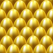Seamless golden eggs background. — Stock Vector