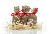 Three small gift sacks — Stock Photo