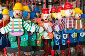 Wooden clowns puppet dolls — Stock Photo