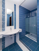Modern blue bathroom  — Stock Photo