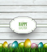 Wooden Easter Background — Stock Vector