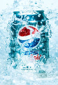 Can of Pepsi cola Lignt in water. — Stock Photo
