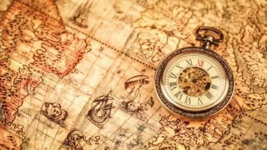 Pocket watch on ancient map — Vídeo Stock
