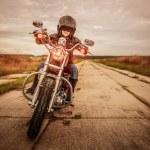 Biker girl on a motorcycle — Stock Photo #61546091