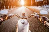 Biker First-person view. Winter slippery road — Stock Photo
