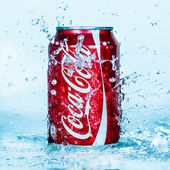 Can of Coca-Cola in water. — Stock Photo